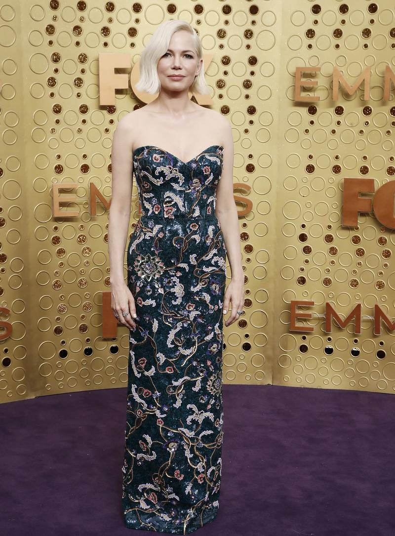 epa07862836 Michelle Williams arrives for the 71st annual Primetime Emmy Awards ceremony held at the Microsoft Theater in Los Angeles, California, USA, 22 September 2019. The Primetime Emmys celebrate excellence in national primetime television broadcasting.  EPA-EFE/ETIENNE LAURENT