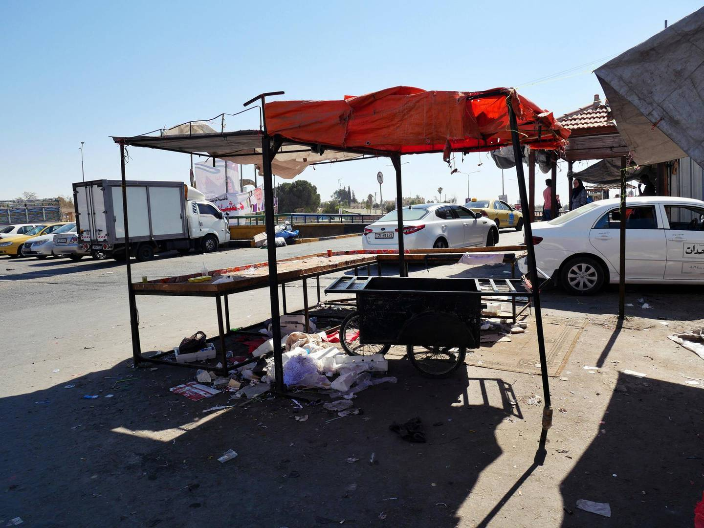 Pictured: The now-closed market stall at the edge of the market belonging to the men who have been charged with the attack on the 16-year-old victim.  19/10/2020 Photographer: Charlie Faulkner