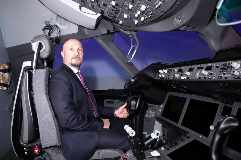 ABU DHABI, UNITED ARAB EMIRATES - JUNE 26 2019.   Paolo La Cava, Managing Director, Etihad Aviation Training (EAT), inside a Boeing 787 flight simulator.   Photo by Reem Mohammed/The National)  Reporter:  Section: BZ