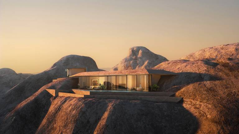 An image that illustrates this article An eco-friendly resort carved in the mountains is coming to Saudi's Red Sea Project