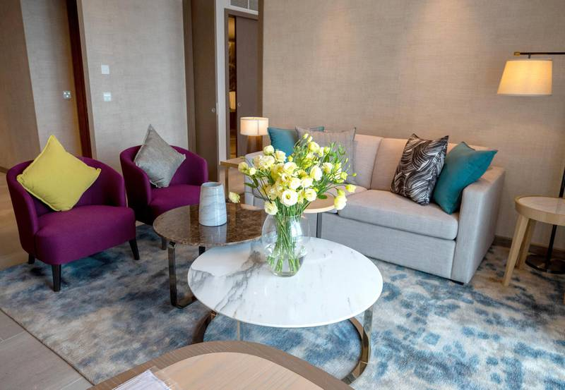 Abu Dhabi, United Arab Emirates, February 18, 2021. First-look pictures of the new Hilton Abu Dhabi Yas Island.  Deluxe two-bedroom suite.  Victor Besa/The National Section:  LFReporter:  Hayley Skirka