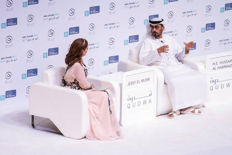 ABU DHABI, UNITED ARAB EMIRATES - OCT 7:H.E. Hussain Bin Ibrahim Al Hammadi, Cabinet Member and Minister of Education, talks at the global teacher's forum, Qudwa 2017.(Photo by Reem Mohammed/The National)Reporter: Roberta PenningtonSection: NA