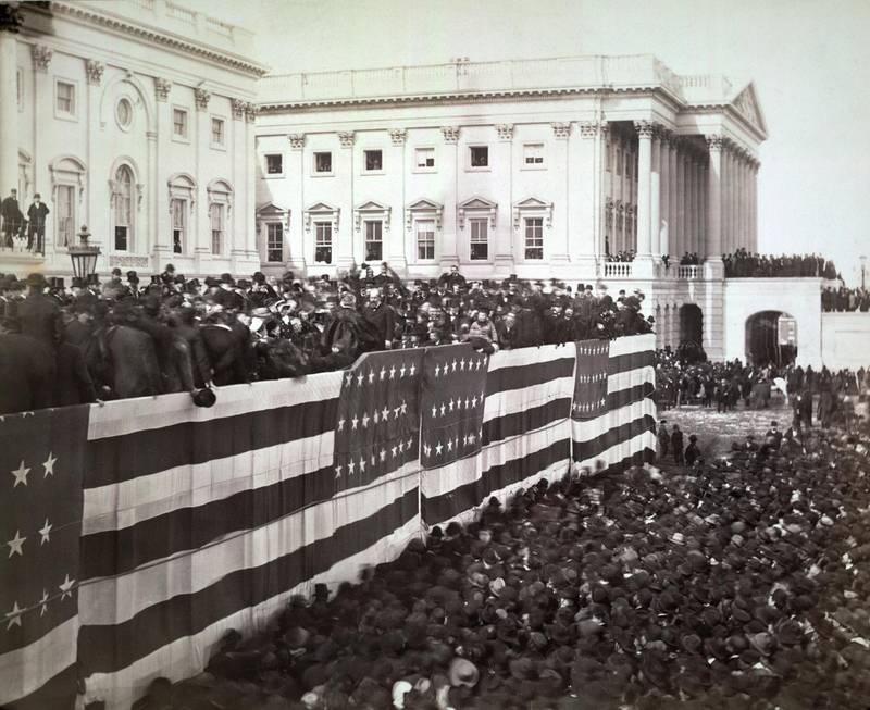 Chief Justice Morrison R. Waite administering the oath of office to James A. Garfield on the east portico of the U.S. Capitol, Washington DC, USA, Photograph by George Prince, March 4, 1881. (Photo by: Glasshouse Vintage/Universal History Archive/Universal Images Group via Getty Images)