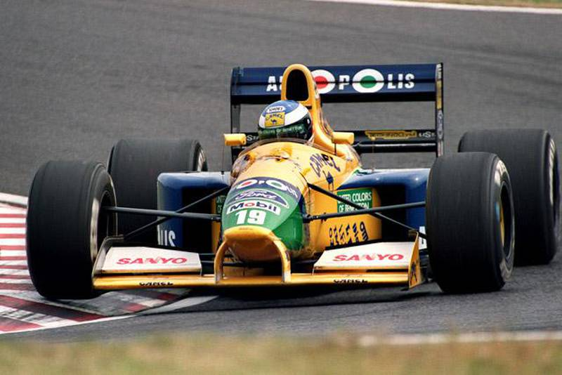 German Formula One driver Michael Schumacher drives his Benetton-Ford during the 2nd practice session of the Japanese Grand Prix 19 October 1991. Schumacher clashed in a high speed turn in the session, clocked 1' 38.363 to clinch the 9th starting position.AFP PHOTO/TOSHIFUMI KITAMURA