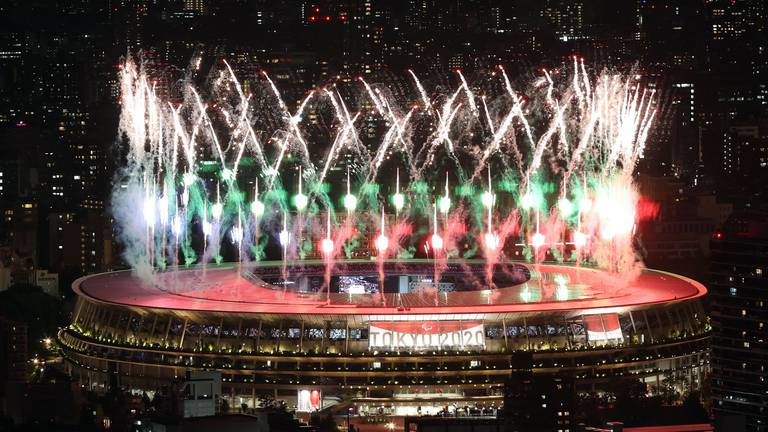 An image that illustrates this article Tokyo Paralympics opens with fireworks and protests - in pictures