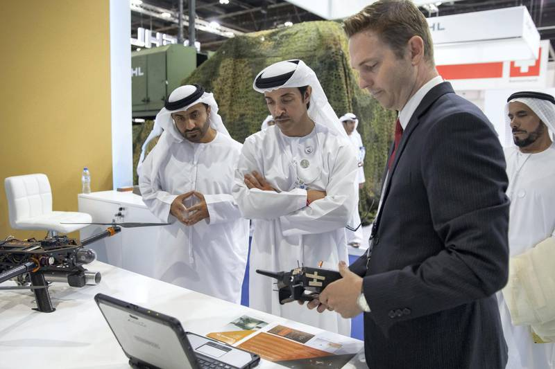 ABU DHABI, UNITED ARAB EMIRATES - February 16, 2019: HH Sheikh Hazza bin Zayed Al Nahyan, Vice Chairman of the Abu Dhabi Executive Council (C), tours the 2019 International Defence Exhibition and Conference (IDEX), at Abu Dhabi National Exhibition Centre (ADNEC).  ( Mohamed Al Bloushi ) ---
