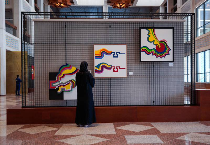 Abu Dhabi, United Arab Emirates, April 4, 2021.   A preview or first look at three new exhibitions at the Cultural Foundation. Exhibition by Mohammed Chabaa. Victor Besa/The NationalSection:  ACReporter:  Alexandra Chaves