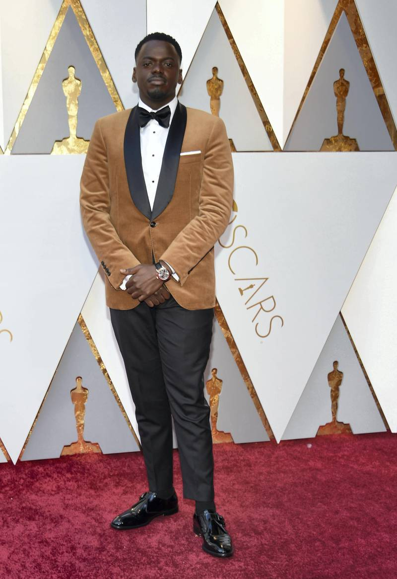 Actor Daniel Kaluuya arrives for the 90th Annual Academy Awards on March 4, 2018, in Hollywood, California. (Photo by VALERIE MACON / AFP)