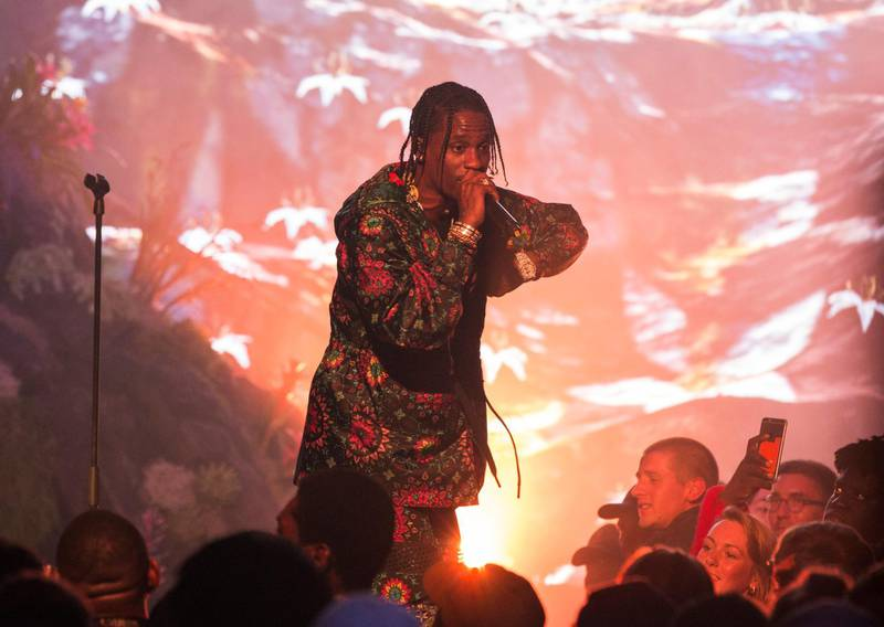 LONDON, ENGLAND - AUGUST 09: (EXCLUSIVE COVERAGE)  Travis Scott performs at the NikeLab x Riccardo Tisci launch at Village Underground on August 9, 2016 in London, England.  (Photo by John Phillips/Getty Images for Nike)