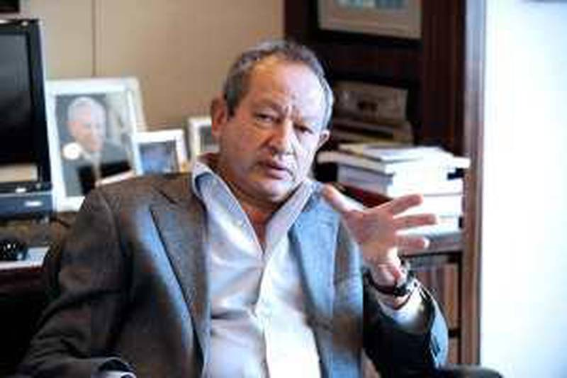 Cairo--March 3, 2010-- Naguib Sawiris photographed at his office in the Nile City Towers. (Dana Smillie for The National)