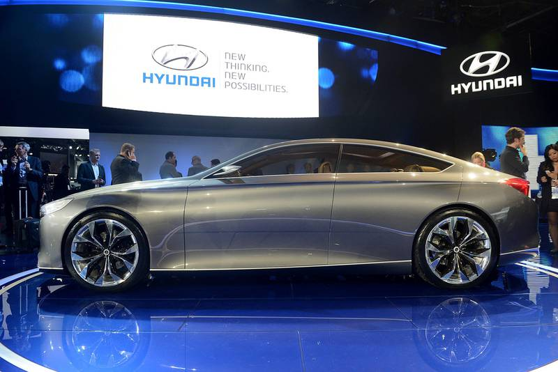 The Hyundai Motor Co. HCD-14 Genesis concept luxury sedan is displayed during the 2013 North American International Auto Show (NAIAS) in Detroit, Michigan, U.S., on Monday, Jan. 14, 2013. The Detroit auto show runs through Jan. 27 and will display over 500 vehicles, representing the most innovative designs in the world. Photographer: Daniel Acker/Bloomberg *** Local Caption ***  1149020.jpg