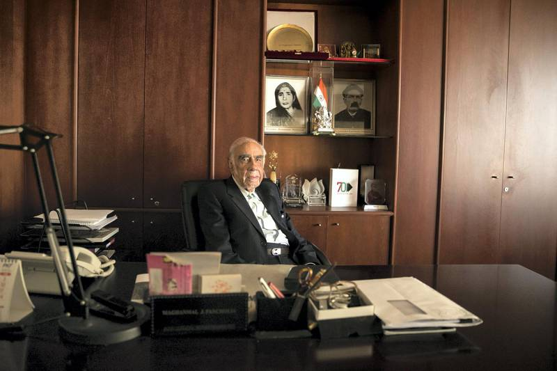 DUBAI, UNITED ARAB EMIRATES - NOV 9:One of the oldest Indians in the UAE, Maghanmal Pancholia, 93,  chairman of Arabian Trading Agency who still goes to work each morning.(Photo by Reem Mohammed/The National)Reporter: RAMOLA TALWARSection: NA POAN