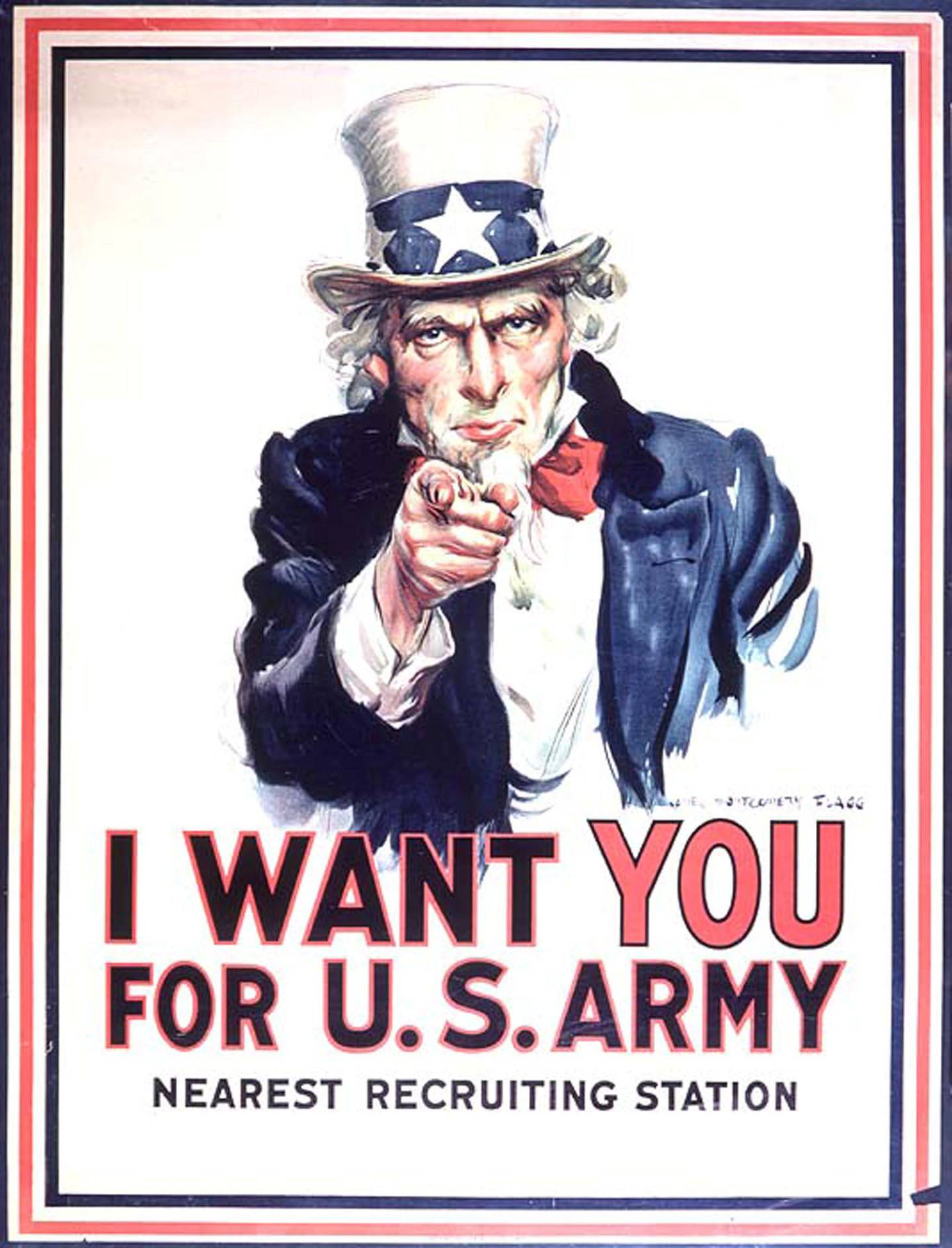 This image obtained 23 March, 2005 shows Uncle Sam on a US Army recruiting poster.The famous poster was used extensively in World War I and World War II to attract recruits. The US Army expects to fall short of its recruiting goals for March and April and plans an appeal to patriotism to blunt the effects of the war in Iraq on attitudes toward military service, Army Secretary Francis Harvey said 23 March, 2005. The active army fell short of its monthly recruiting goal for the first time in five years in February, attracting only 94 percent of expected recruits. The army reserve attracted only 90 percent of expected recruits, and the National Guard, only 75 percent. The army's goal is to recruit 80,000 new soldiers by September 30, up from 77,000 in the last fiscal year and 68,000 in fiscal year 2003. AFP PHOTO/HO (Photo by STR / HO / AFP)