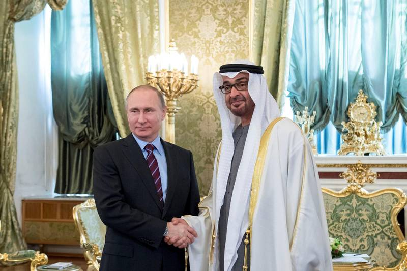 MOSCOW, RUSSIA - April 20, 2017:HH Sheikh Mohamed bin Zayed Al Nahyan Crown Prince of Abu Dhabi Deputy Supreme Commander of the UAE Armed Forces (R), stands for a photograph with HE Vladimir Putin President of Russia (L), at the Kremlin Palace.  ( Rashed Al Mansoori / Crown Prince Court - Abu Dhabi  ) --- *** Local Caption ***  20170420RMC04_2265.JPG