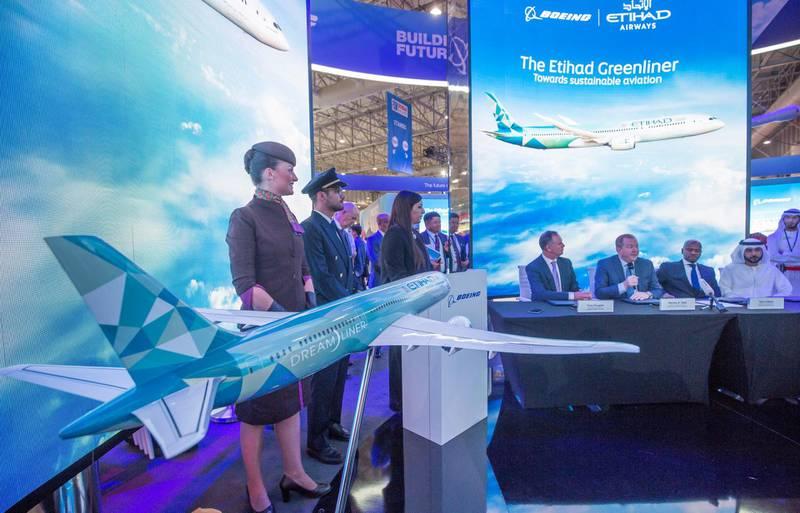 Dubai, United Arab Emirates- The unveiling of Etihad Greeliner at the Dubai Airshow 2019 day 2 at Maktoum Airport.  Leslie Pableo for the National