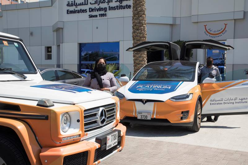 Dubai, United Arab Emirates - A Mercedes and Tesla at the Emirates Driving Institute, Dubai.  Leslie Pableo for The National