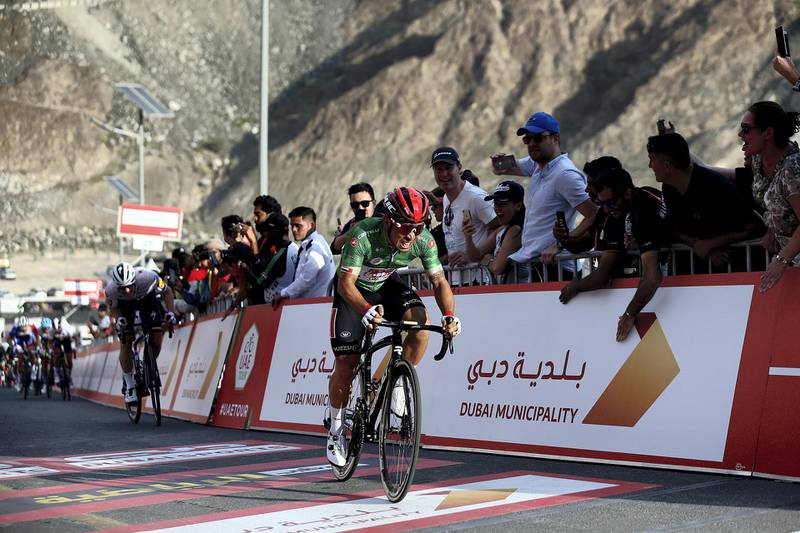 HATTA, February, 24, 2020: Caleb Ewan of Soudal Lotto team approaches the finish line of  the second stage during the UAE Tour 2020 race in Hatta  . Satish Kumar/ For the National/  Story Amit Pasella