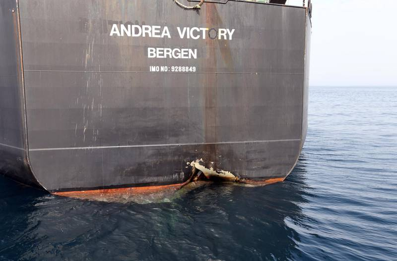 A damaged Andrea Victory ship is seen off the Port of Fujairah, United Arab Emirates, May 13, 2019. REUTERS/Satish Kumar