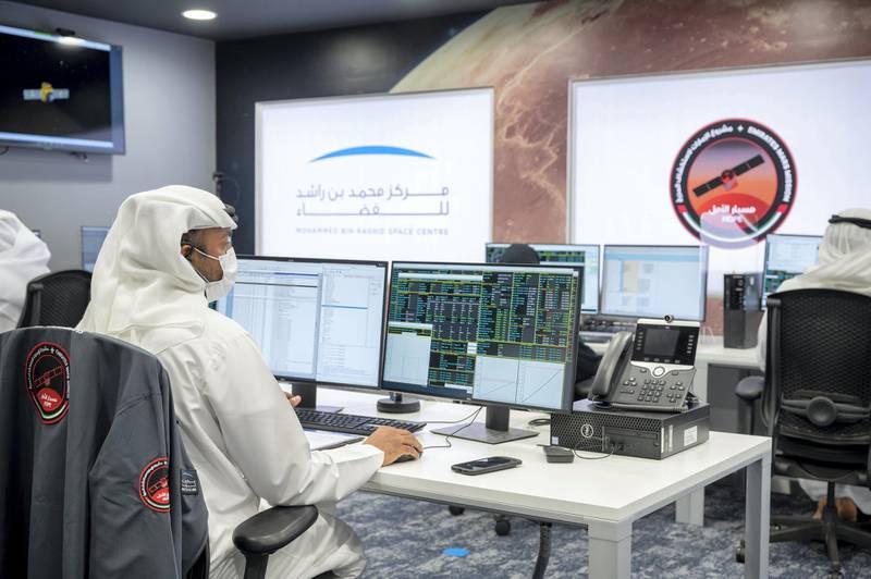 DUBAI, UNITED ARAB EMIRATES - February 09, 2021: Member of Mohammed Bin Rashid Space Centre participates during the arrival of the Hope Probe in the orbit of Mars.  ( Rashid Al Mansoori / Ministry of Presidential Affairs ) ---