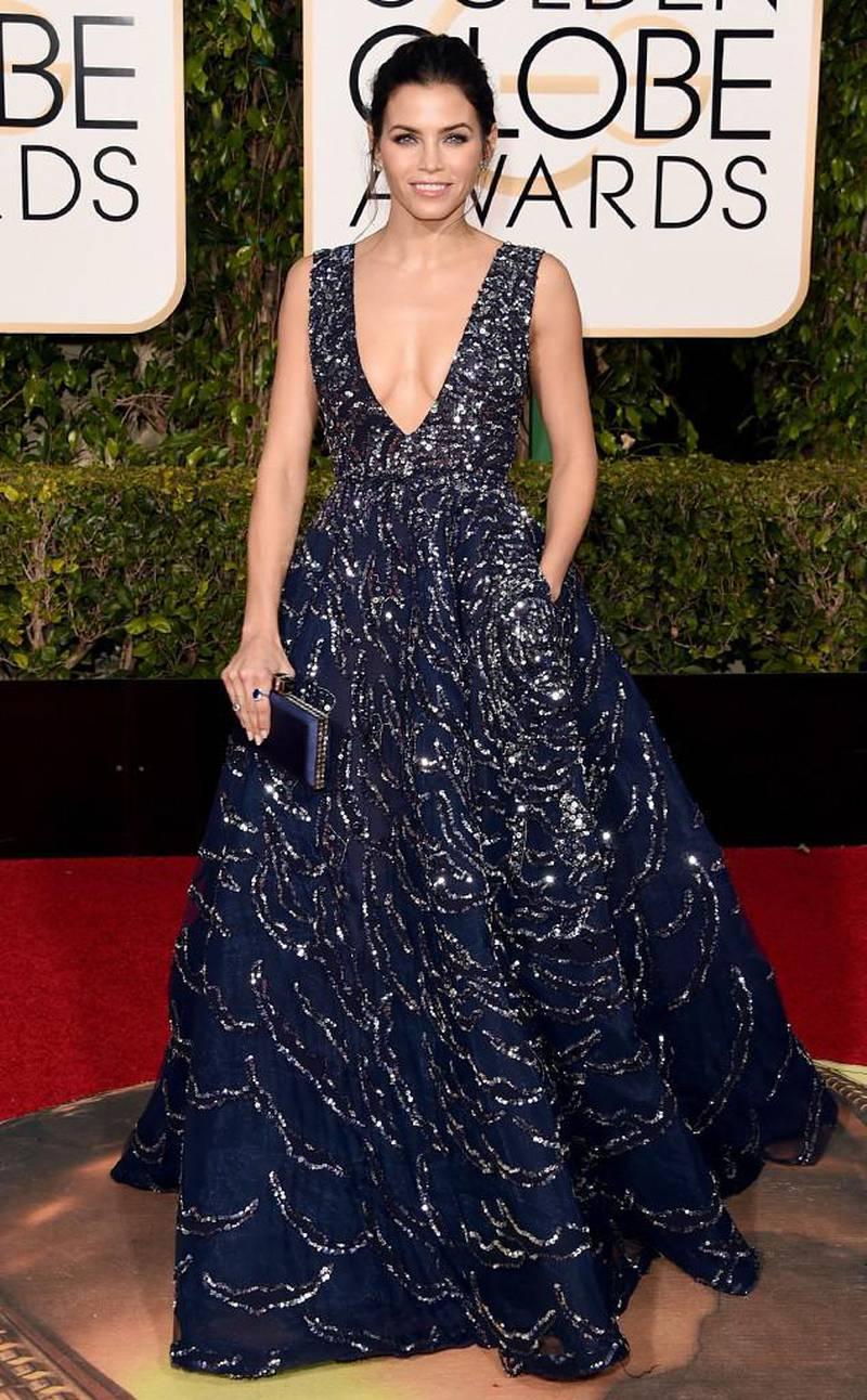 Celebrities wear Zuhair Murad at the 2017 Golden Globes. Courtesy of Harvey Nichols Dubai *** Local Caption ***  AL09 online_Jenna%20Dewan%20Tatum%20in%20Zuhair%20Murad.jpg