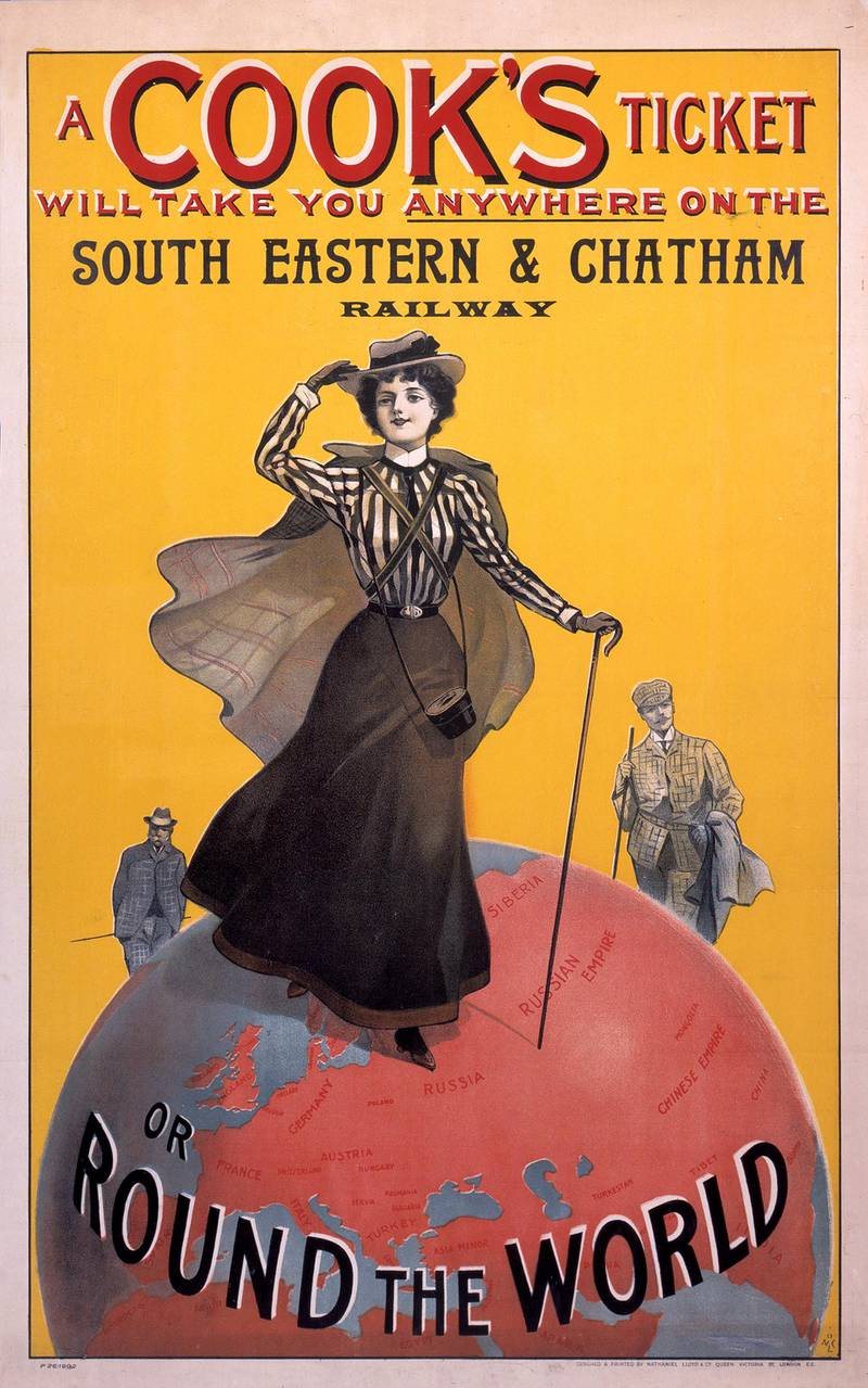 UNITED KINGDOM - NOVEMBER 28:  Ôø?A Cook's Ticket Will Take You Anywhere on the South Eastern & Chatham Railway'. Poster produced for the South Eastern & Chatham Railway (SE&CR) to promote rail links with round the world travel tickets offered by the tour operator Thomas Cook & Son. The poster shows a woman wearing Edwardian walking attire holding a walking stick, standing on a globe. Thomas Cook (1808-1892) established his travel firm in 1841, offering holidays to worldwide destinations. Artwork by an unknown artist.  (Photo by SSPL/Getty Images)