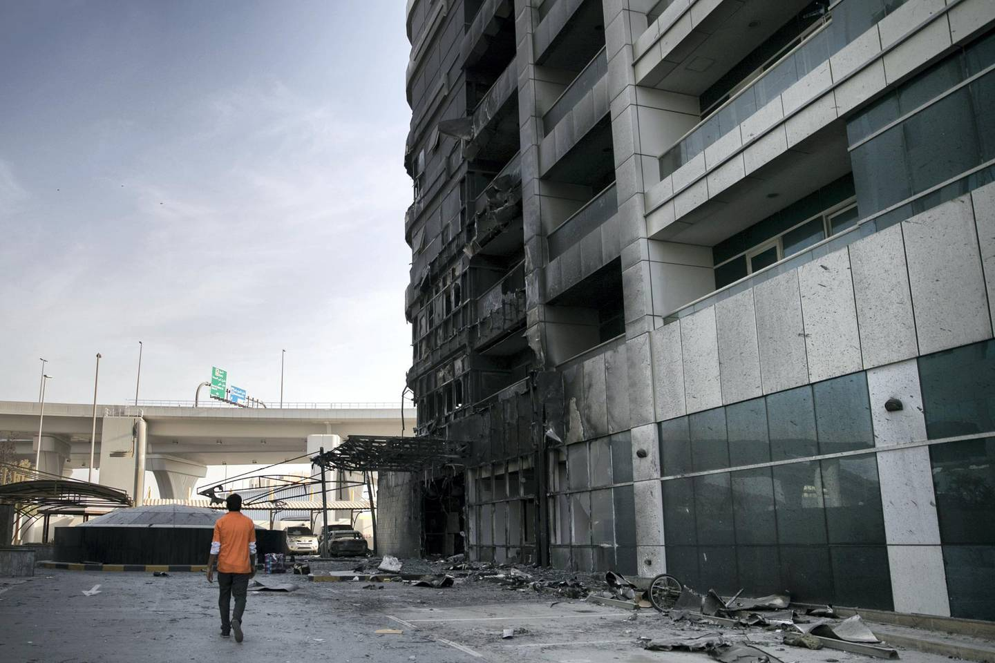 DUBAI, UNITED ARAB EMIRATES - MAY 28, 2018. Aftermath of Zen tower fire.The blaze forced more than 100 residents to flee the Dubai Marina tower and left the building badly damaged. It began in the kitchen of a business on the ground floor, investigators believe.(Photo by Reem Mohammed/The National)Reporter: Section: NA
