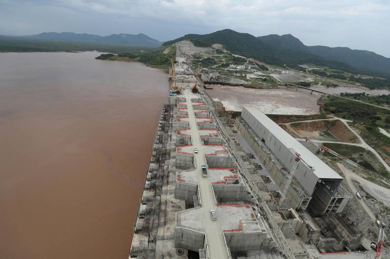 FILE PHOTO: Ethiopia's Grand Renaissance Dam is seen as it undergoes construction work on the river Nile in Guba Woreda, Benishangul Gumuz Region, Ethiopia September 26, 2019. Picture taken September 26, 2019. REUTERS/Tiksa Negeri/File Photo
