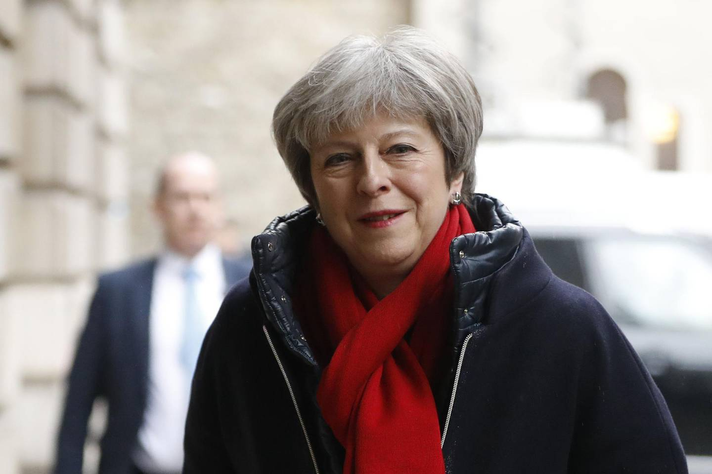 British Prime Minister Theresa May arrives at Mansion House in central London to give a speech on Brexit on March 2, 2018. / AFP PHOTO / Tolga AKMEN