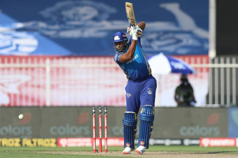 Kieron Pollard of Mumbai Indians bats during match 17 of season 13 of the Dream 11 Indian Premier League (IPL) between the Mumbai Indians and the Sunrisers Hyderabad held at the Sharjah Cricket Stadium, Sharjah in the United Arab Emirates on the 4th October 2020. Photo by: Deepak Malik  / Sportzpics for BCCI
