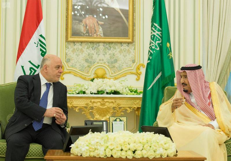 Iraqi Prime Minister Haider al-Abadi meets with Saudi Arabia's King Salman bin Abdulaziz Al Saud in Riyadh, Saudi Arabia October 22, 2017. Saudi Press Agency/Handout via REUTERS ATTENTION EDITORS - THIS PICTURE WAS PROVIDED BY A THIRD PARTY. NO RESALES. NO ARCHIVE.