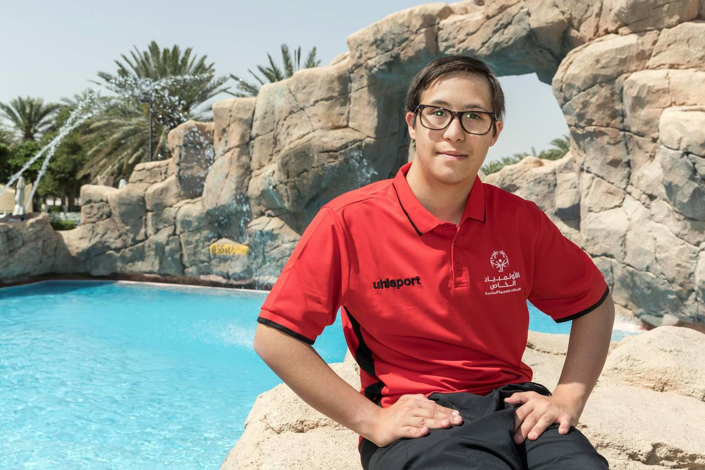 AL AIN, UNITED ARAB EMIRATES. 11 MARCH 2018.  UAE National Swimming Team member Omar Al Shami at the Danat Al AIn resort in preparation for the upcoming Special Olympics. (Photo: Antonie Robertson/The National) Journalist: Ramola Talwar. Section: National.