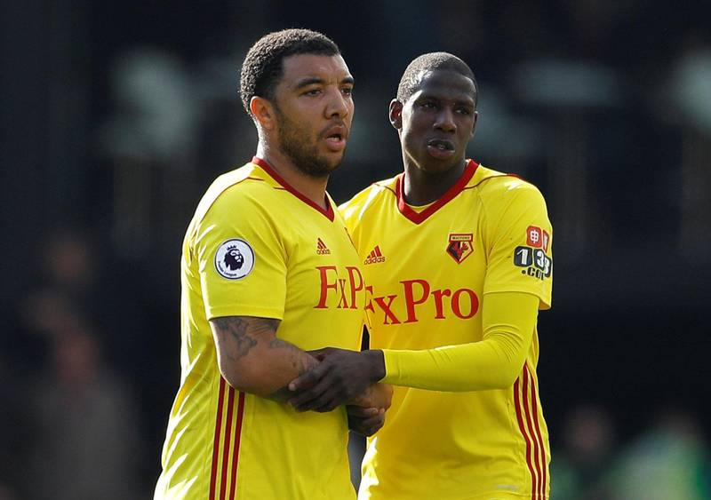 """Soccer Football - Premier League - Watford vs AFC Bournemouth - Vicarage Road, Watford, Britain - March 31, 2018   Watford's Troy Deeney and Abdoulaye Doucoure after the match    REUTERS/Peter Nicholls    EDITORIAL USE ONLY. No use with unauthorized audio, video, data, fixture lists, club/league logos or """"live"""" services. Online in-match use limited to 75 images, no video emulation. No use in betting, games or single club/league/player publications.  Please contact your account representative for further details."""