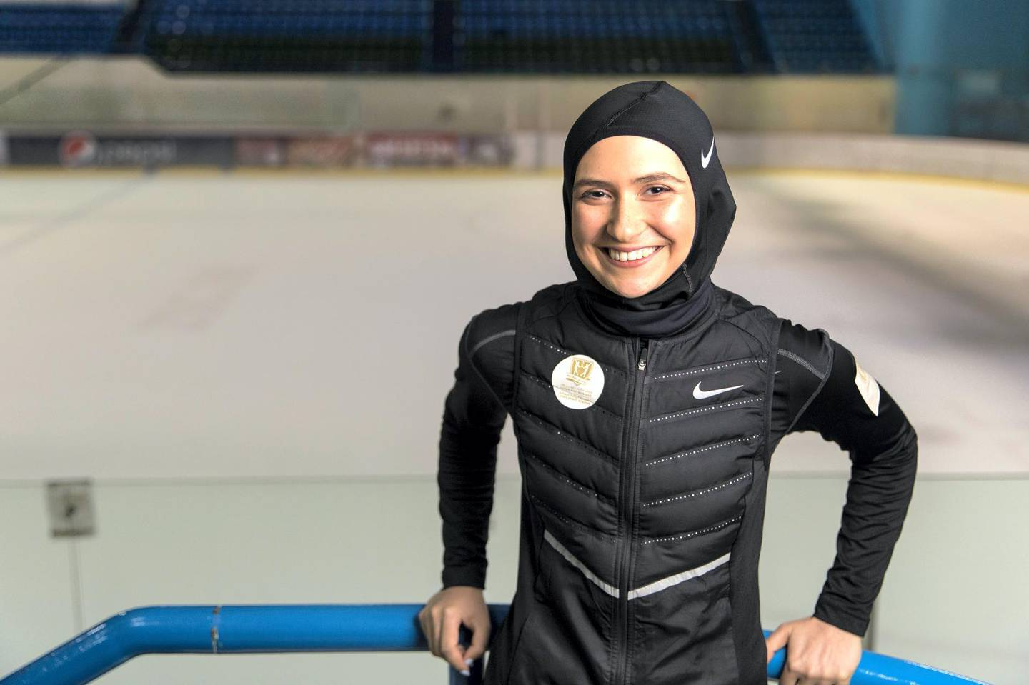 Abu Dhabi, United Arab Emirates, August 23, 2017:    Zahra Lari, an Emirati figure skater who is working towards qualifying for the 2018 Winter Olympics at the Ice Rink in the Zayed Sports City area of Abu Dhabi on August 23, 2017. Christopher Pike / The National  Reporter: Amith Passela Section: Sport