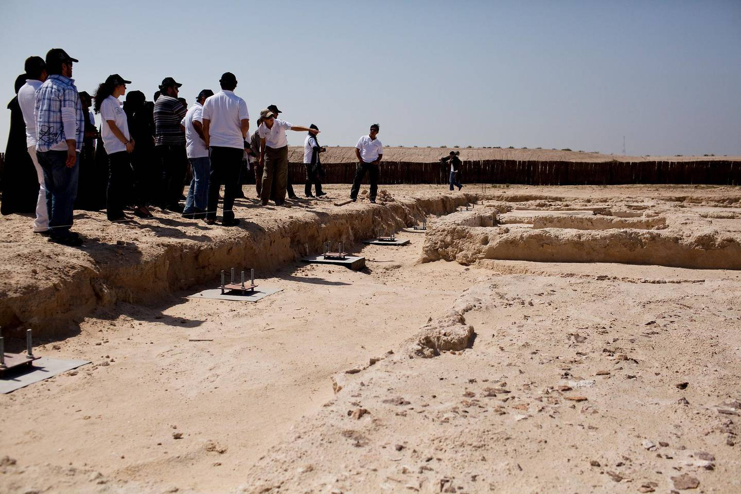 """19/02/2010 - Abu Dhabi, UAE - Thirty-six archaeological sites have been discovered throughout Sir Bani Yas.  One of the oldest sites is the remains of a pre-Islamic monastery which dates back to 600ÊAD, pictured.  Jalal Luqman, co-owner of one of Abu Dhabi's most active at galleries, held Jalal's Art Trip, for its third year, on Friday February 19, 2010 at Sir Bani Yas Island.  The art trip helps young university students to more established artists to find new outlets for creativity as well as give them motivation and inspiration to continue their art.  Sir Bani Yas Island, is  a natural island located 250 km southwest of Abu Dhabi, is the largest natural island in the United Arab Emirates.  The island which is 87 square km was established by the late ruler and founder of the UAE, Sheikh Zayed Bin Sultan Al Nahyan, in 1971 as a wildlife reserve.  The island is home to animals such as cheetahs, giraffes, gazelle, oryx, ostrich, and sea turtles.  In a January 6, 2010 article in The National Luqman said, """"The idea of the trip is not the trip.  The real thing is for people to see your work be produced from absolutely nothing to a painting that will hang in an exhibition and ideally get sold. Because that is like the epic Ð of being a sold, exhibited artist.Ó  (Andrew Henderson / The National)"""