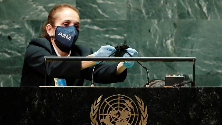 An image that illustrates this article Podium cleaner catches eyes at UN General Assembly