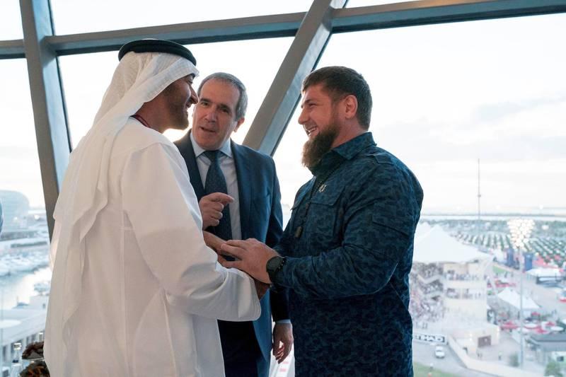 YAS ISLAND, ABU DHABI, UNITED ARAB EMIRATES - November 26, 2017: HH Sheikh Mohamed bin Zayed Al Nahyan Crown Prince of Abu Dhabi Deputy Supreme Commander of the UAE Armed Forces (L) greets HE Ramzan Kadyrov, President of Chechnya (R), at Shams Tower, during the final day of Formula 1 Etihad Airways Abu Dhabi Grand Prix. ( Mohamed Al Hammadi / Crown Prince Court - Abu Dhabi ) ---
