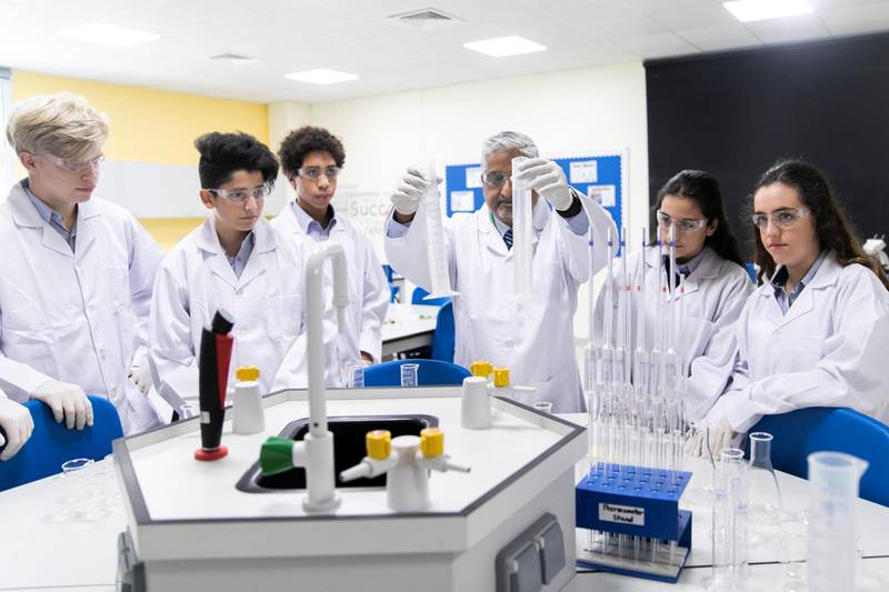 DUBAI, UNITED ARAB EMIRATES - SEPTEMBER 18, 2018. Science class with Teacher Dasari at Dubai International Academy Al Barsha (Photo by Reem Mohammed/The National)Reporter: ANAM RIZVISection: NA