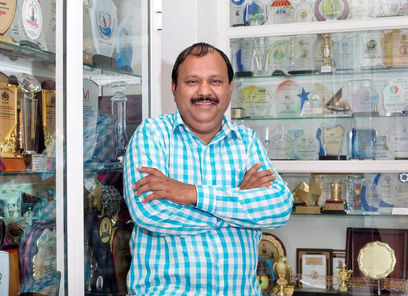 AJMAN,  UNITED ARAB EMIRATES, 19 May 2018 - Ashraf Thamasrassery also known as Ashraf bhai or brother.  He helps repatriate bodies to the home countries of expatriates, in his home in Ajman. Leslie Pableo for The National  for Ramola Talwar story