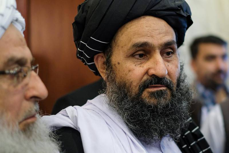 Taliban co-founder and political leader Mullah Abdul Ghani Baradar attends talks with Afghan political figures in Moscow on May 30, 2019. (Photo by Nikolay KORZHOV / AFP)
