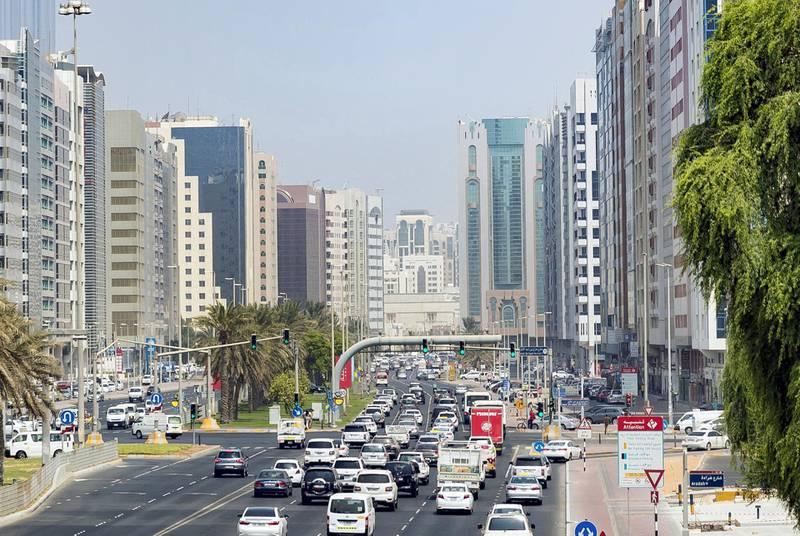 Abu Dhabi, United Arab Emirates - August 14, 2018: Abu Dhabi Traffic. Tuesday, August 14th, 2018 on Sultan bin Zayed the 1st Street, Abu Dhabi. Chris Whiteoak / The National
