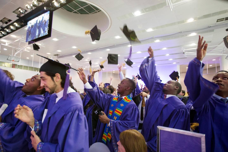 Abu Dhabi, United Arab Emirates, May 23, 2016:    Graduates throw their caps after being confirmed during the New York University Abu Dhabi 2016 Commencement Exercises at New York University on Saadiyat Island in Abu Dhabi on May 23, 2016. Christopher Pike / The NationalJob ID: 72661Reporter: Emmanuel SamoglouSection: NewsKeywords:  *** Local Caption ***  CP0523-na- NYU Graduation--20.JPG