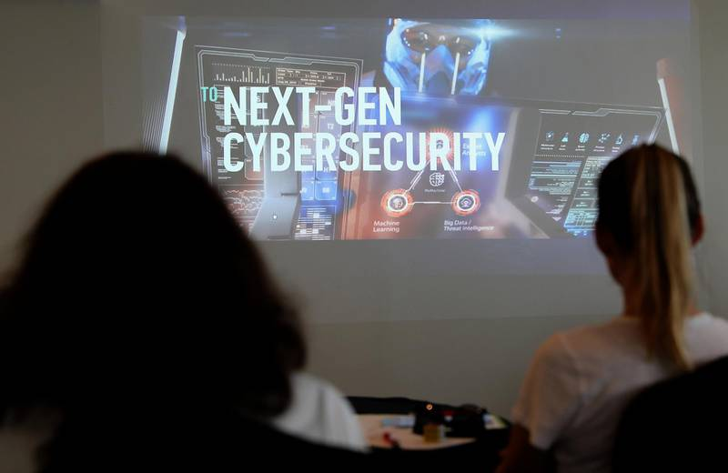 DUBAI , UNITED ARAB EMIRATES , SEP 20  ��� 2017 : - Guests watching the video presentation during the press conference of Kaspersky Lab regarding Cyber crime held at the Media One hotel in Dubai Media City in Dubai. ( Pawan Singh / The National ) Story by Nawal
