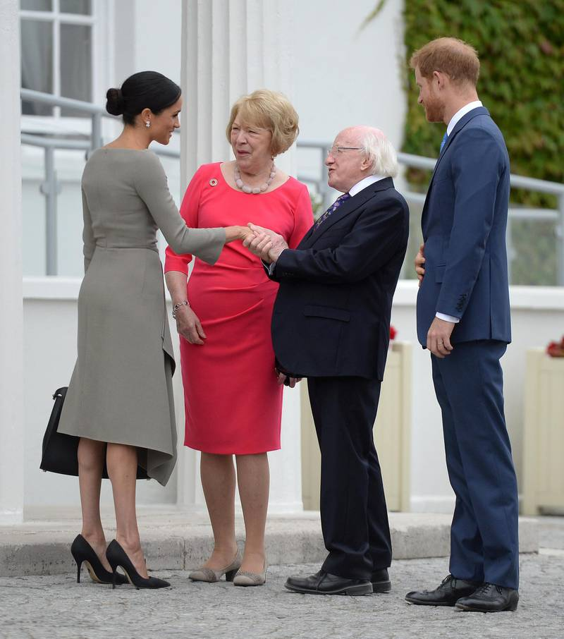DUBLIN, IRELAND - JULY 11:  Prince Harry, Duke of Sussex and Meghan, Duchess of Sussex meet Ireland's President, Michael Higgins and his wife Sabina Coyne at Aras an Uachtarain during day two of their visit to Ireland on July 11, 2018 in Dublin, Ireland. (Photo by Clodagh Kilcoyne - WPA Pool/Getty Images)