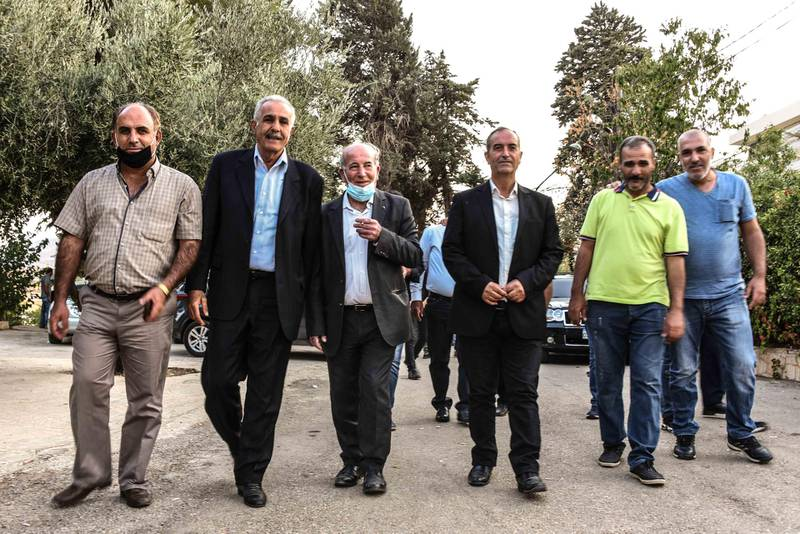 Bouday, Lebanon, 10 October 2020. members of the Chamas clan leaving a family meeting called to discuss the regional response to the killing of family member, Mohammad Chamas by a member of the Jaafar family 4 October 2020. Elizabeth Fitt for The National