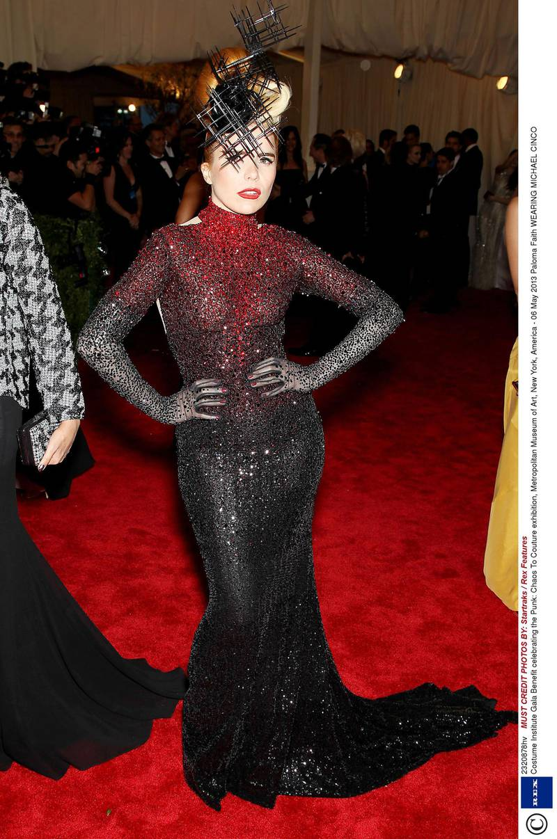 Mandatory Credit: Photo by Startraks / Rex Features (2320878hv)Paloma FaithCostume Institute Gala Benefit celebrating the Punk: Chaos To Couture exhibition, Metropolitan Museum of Art, New York, America - 06 May 2013WEARING MICHAEL CINCO