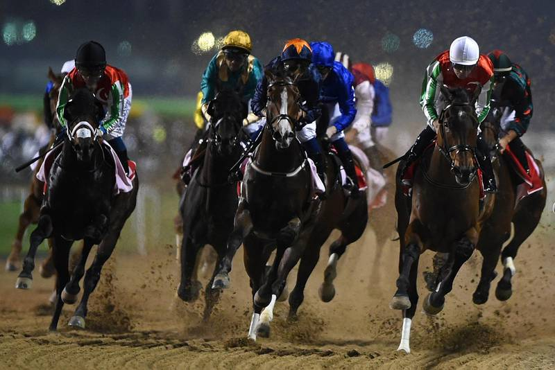 DUBAI, UNITED ARAB EMIRATES - MARCH 10:  Richard Mullen riding North America on his way to winning the Al Maktoum Challenge (Round 3) during Dubai World Cup Carnival Races at the Meydan Racecourse on March 10, 2018 in Dubai, United Arab Emirates.  (Photo by Tom Dulat/Getty Images)