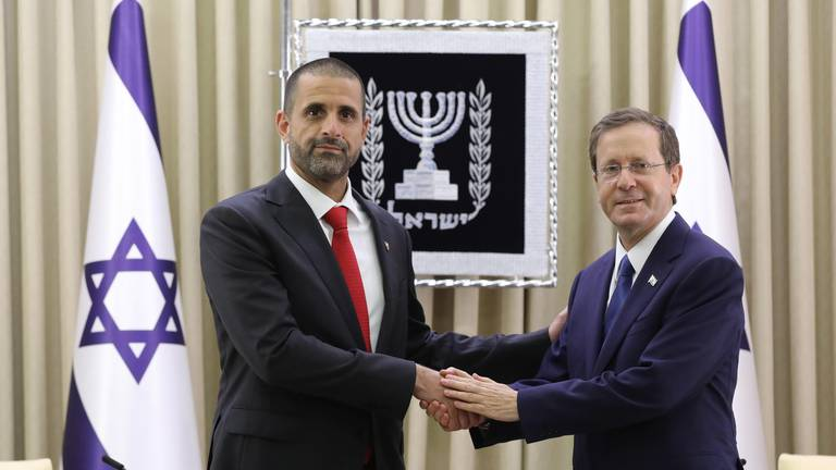 An image that illustrates this article Bahrain envoy to Israel presents credentials on eve of Abraham Accords anniversary