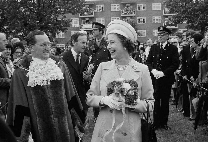 Queen Elizabeth II in Deptford, during a walkabout to commemorate her Silver Jubilee, London, UK, 9th June 1977. (Photo by Evening Standard/Hulton Archive/Getty Images)