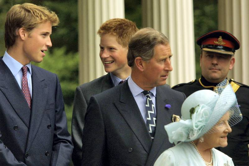 392853 15: Princes William and Harry and Prince Charles appear with The Queen Mother during celebrations to mark her 101st birthday August 4, 2001 in London. (Photo by Sion Touhig/Getty Images)