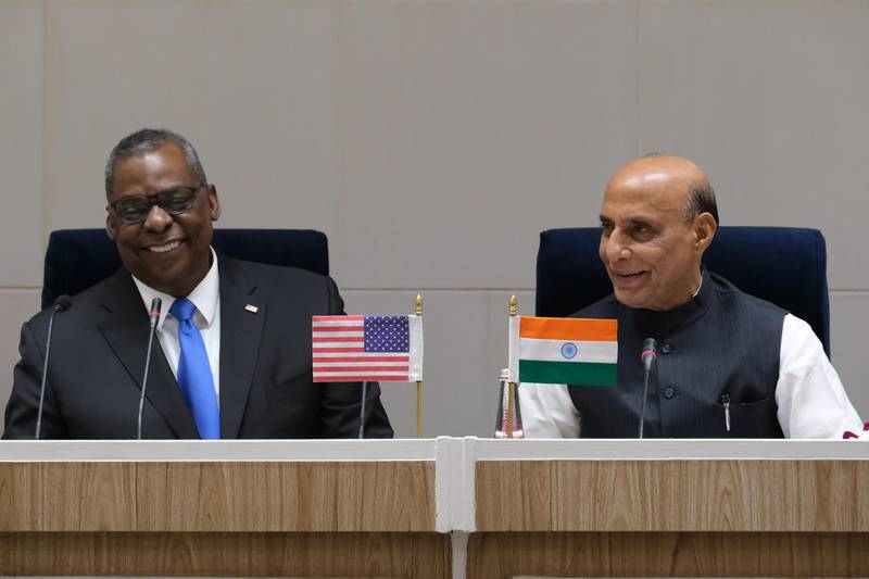 Lloyd Austin, U.S. secretary of defense, left, and Rajnath Singh, India's defense minister, during a joint news conference at Vigyan Bhawan in New Delhi, India, on Saturday, March 20, 2021. Austins visit to New Delhi after talks in Tokyo and South Korea earlier this week follows a March 12 virtual summit, the first meeting between Biden and top leaders of the so-called Quad partners India, Australia and Japan, all of whom have their own tensions with China. Photographer: T. Narayan/Bloomberg,